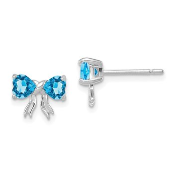 14k White Gold Polished Light Swiss Blue Topaz Bow Post Earrings