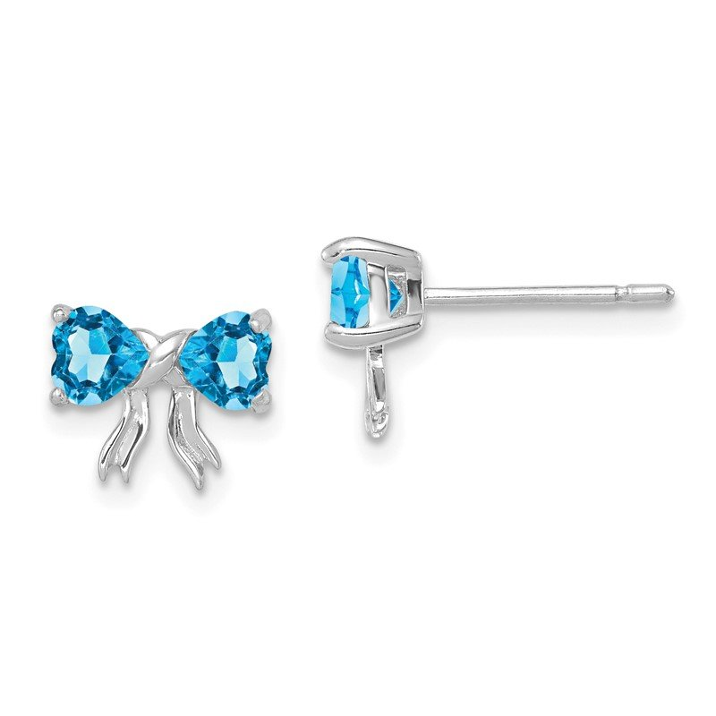 Quality Gold 14k White Gold Polished Light Swiss Blue Topaz Bow Post Earrings