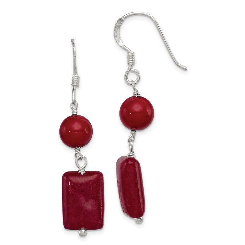 Fine Jewelry by JBD Sterling Silver Red Coral/Red Agate Earrings