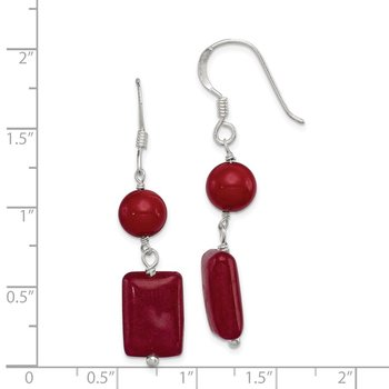 Sterling Silver Red Coral/Red Agate Earrings