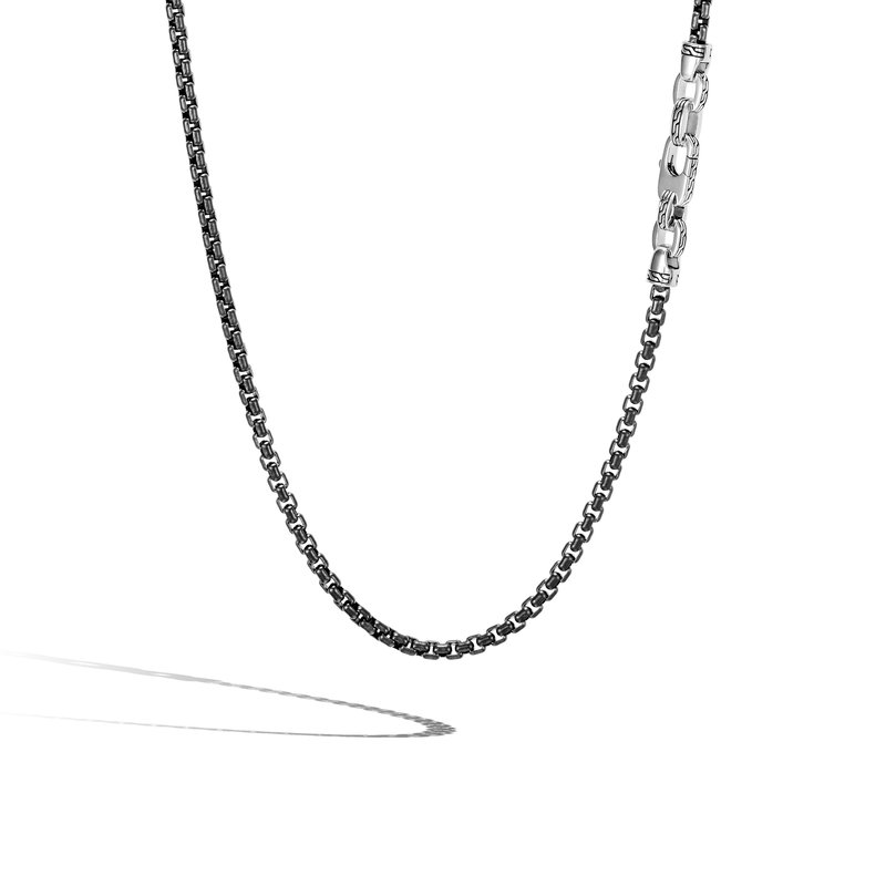 JOHN HARDY Classic Chain 4MM Box Chain Necklace in Blacked Silver