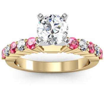 Round Diamond & Pink Sapphire Engagement Ring