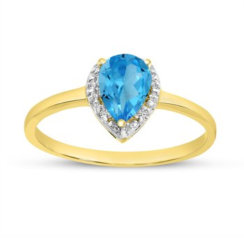 10k Yellow Gold Pear Blue Topaz And Diamond Ring