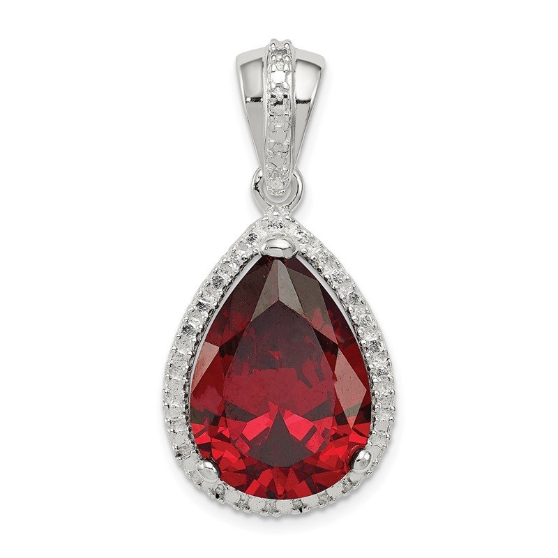 Quality Gold Sterling Silver Pearshape Red CZ Pendant