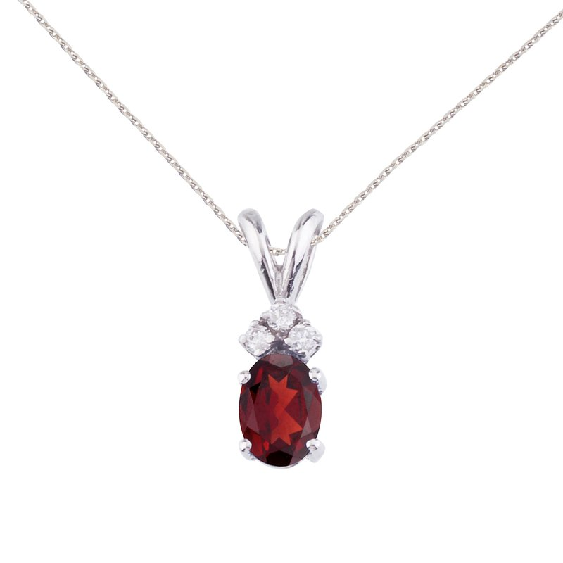 Color Merchants 14K White Gold Oval Garnet and Diamond