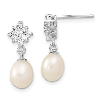Sterling Silver Rhod-plated 6-7mm Wt Rice FWC Pearl CZ Post Dangle Earring