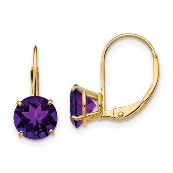 14k 7mm Amethyst Leverback Earrings