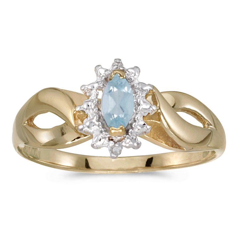 Color Merchants 10k Yellow Gold Marquise Aquamarine And Diamond Ring