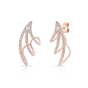 Rose Gold Triple Cuff Earrings