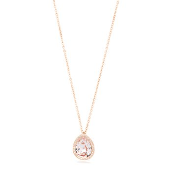 316L stainless steel with drop-shaped pendant, rose gold PVD and Swarovski® Elements vintage rose crystal.