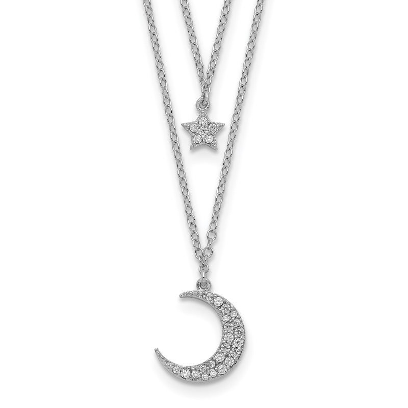 Quality Gold Sterling Silver Rhod-pltd CZ Star and Moon 2in ext 2-strand Necklace