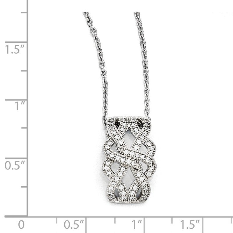 Quality Gold SS Rhodium-Plated CZ Brilliant Embers Polished Necklace