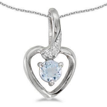 10k White Gold Round Aquamarine And Diamond Heart Pendant