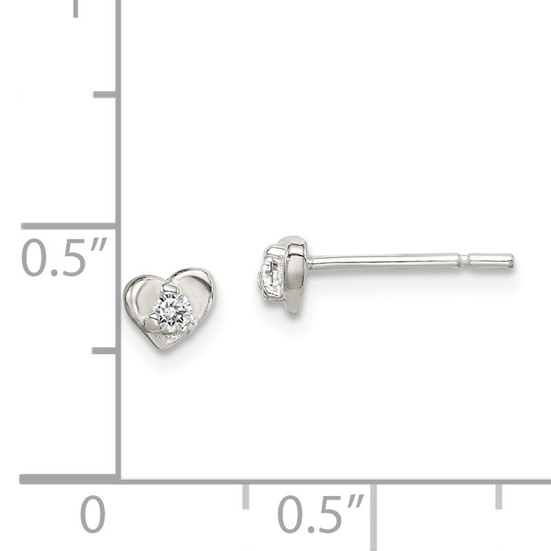 Fine Jewelry by JBD Sterling Silver CZ Heart Post Earrings