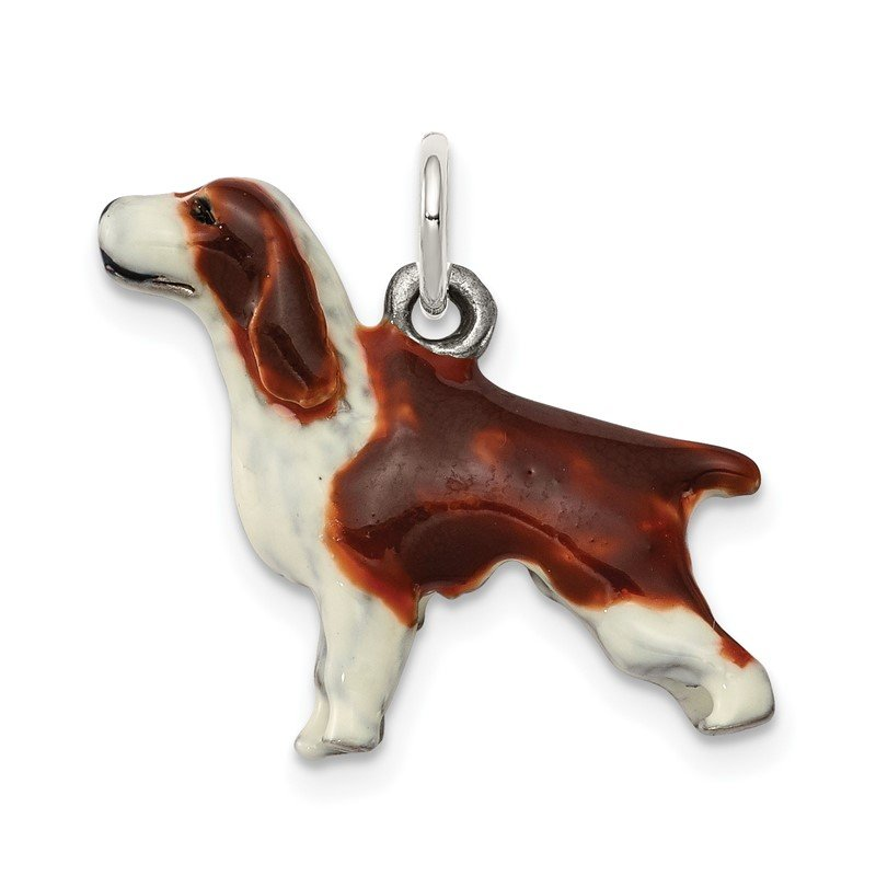 Quality Gold Sterling Silver Enameled English Springer Spaniel Charm