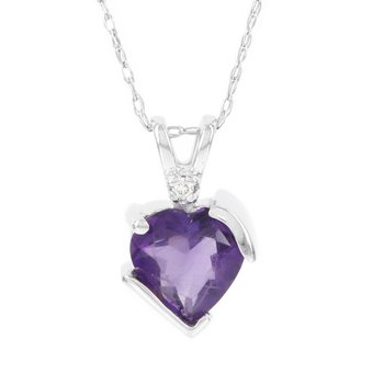 10k White Gold Amethyst and Diamond Accent Heart Pendant