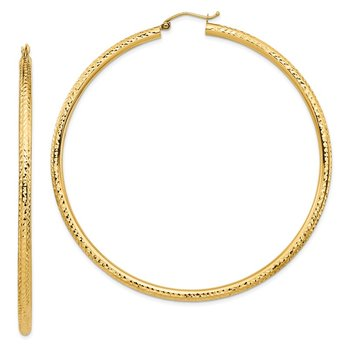 14k Lightweight 3mm Diamond-cut Hoop Earrings