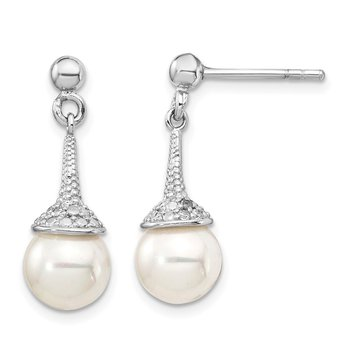 Sterling Silver Rh-pl Plated w/ CZ Imitation Shell Pearl Dangle Earrings