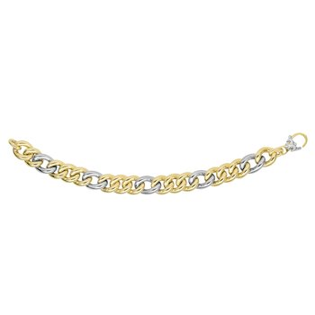 14K Gold Alternating Three Plus One Heritage Link Bracelet