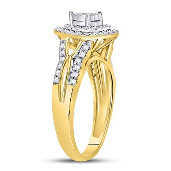10kt Yellow Gold Womens Round Diamond Solitaire Heart Ring 1/2 Cttw