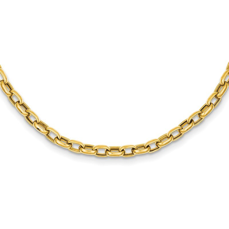 Quality Gold 14k 18in 4.5mm Polished Fancy Link Necklace