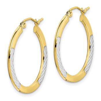 10K & Rhodium Diamond Cut 2.5x20mm Hoop Earrings