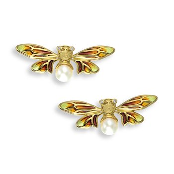 Yellow Bee Stud Earrings.18K -Diamonds and Akoya Pearls - Plique-a-Jour