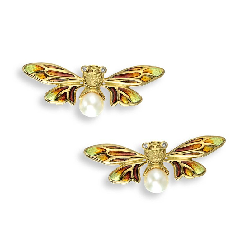 Nicole Barr Designs Yellow Bee Stud Earrings.18K -Diamonds and Akoya Pearls - Plique-a-Jour