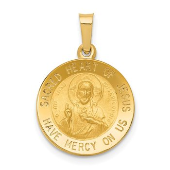 14k Polished and Satin Sacred Heart of Jesus Medal Hollow Pendant
