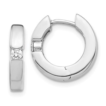 14k White Gold AA Diamond Hinged Hoop Earrings