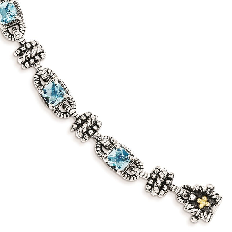 Quality Gold Sterling Silver w/14k Swiss Blue Topaz Bracelet