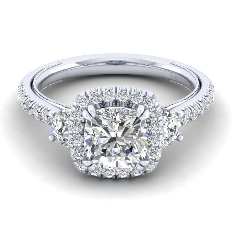Gabriel Bridal Vintage 14K White Gold Cushion Three Stone Halo Diamond Engagement Ring