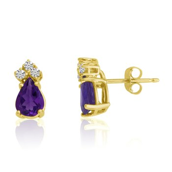 14k Yellow Gold 7X5 Pear Amethyst and Diamond Earrings
