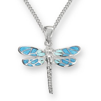 Blue Dragonfly Necklace.Sterling Silver
