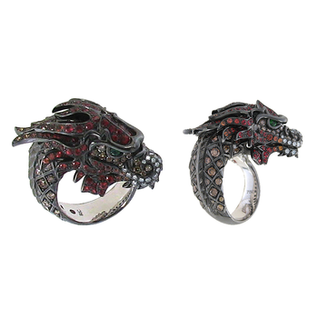 18Kt Gold Diamond, Sapphire And Garnet Dragon Ring