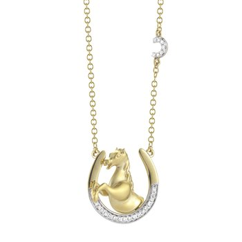 14K Yellow Gold Necklace Horses head on a Diamond encrusted horseshoe