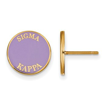 Gold-Plated Sterling Silver Sigma Kappa Greek Life Earrings