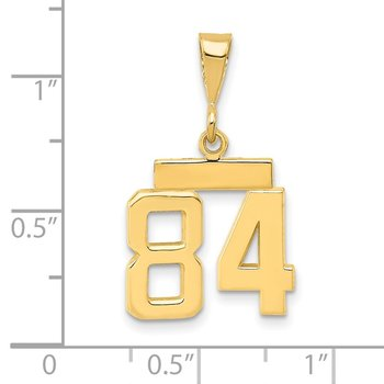 14k Small Polished Number 84 Charm