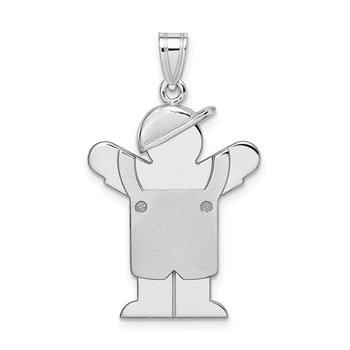 14k White Gold Medium Boy with Hat on Left Engravable Charm