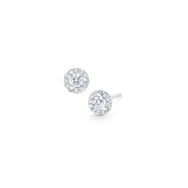 KC Designs Diamond Round Halo Stud Earrings Set in 14 Kt. Gold
