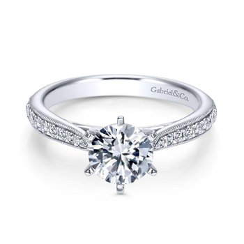 14k White Gold Diamond Straight Channel and Milgrain Engagement Ring