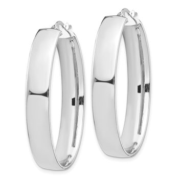 14k White Gold High Polished 7mm Oval Hoop Earrings