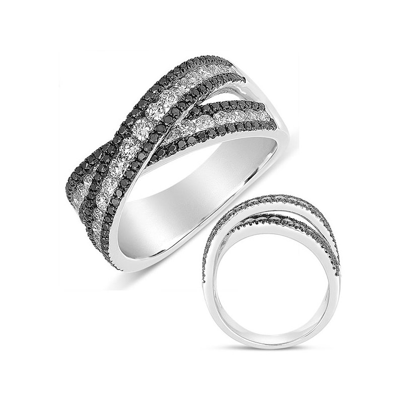 S. Kashi  & Sons White Gold Black & White Diamond Band
