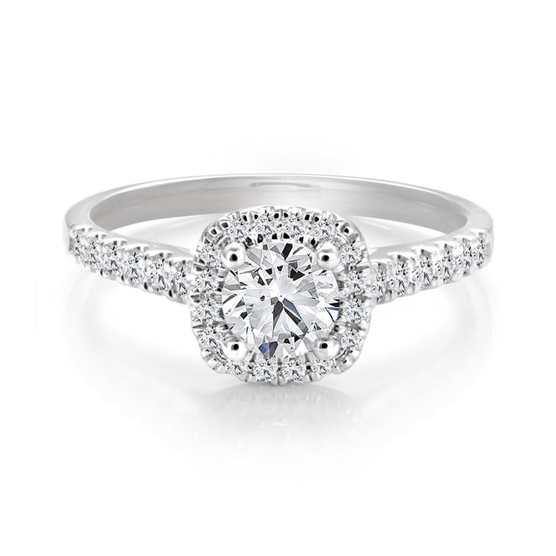 Classic Halo Diamond Engagement Ring with Pave Diamonds