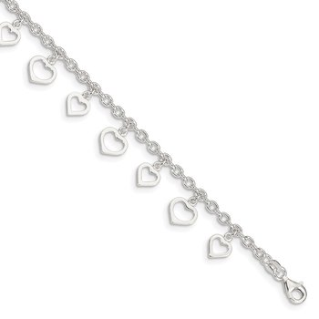 Sterling Silver 8 in Plus 1in Ext Polished Heart Anklet