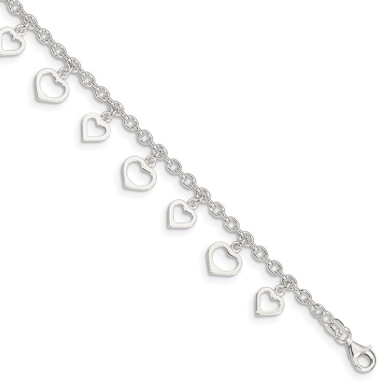 Quality Gold Sterling Silver 8 in Plus 1in Ext Polished Heart Anklet