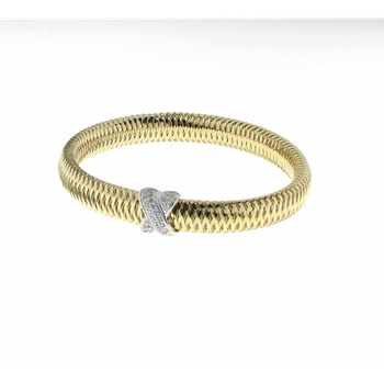 18Kt Yellow And White Gold Bangle With Diamond X