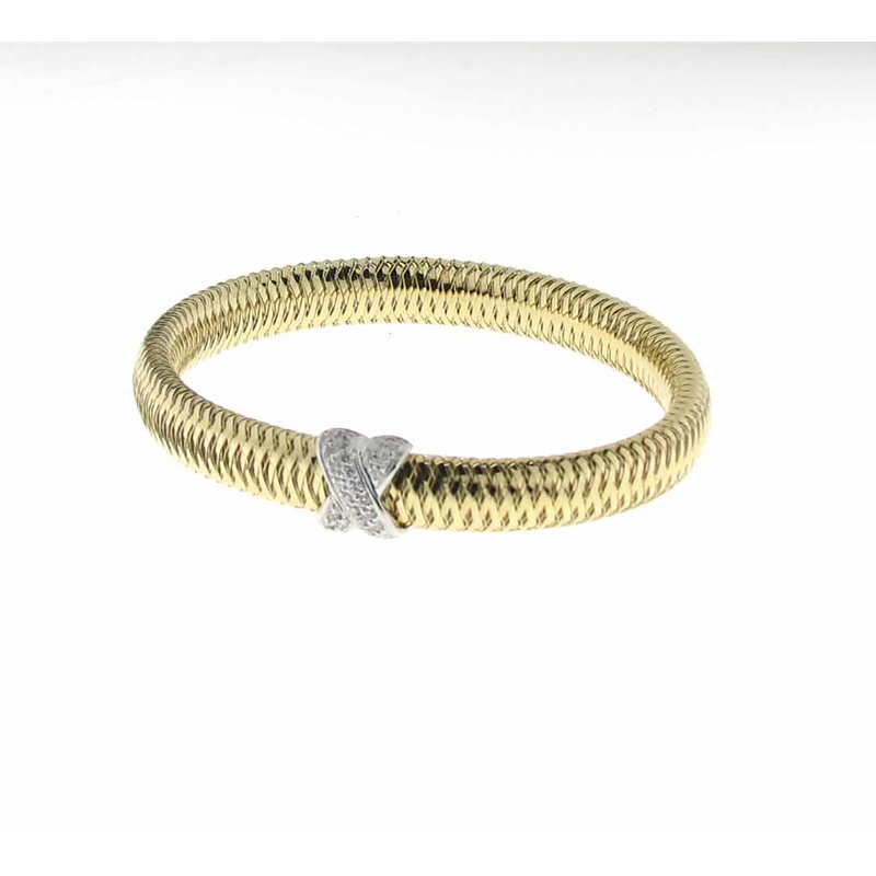 Roberto Coin 18KT YELLOW AND WHITE GOLD BANGLE WITH DIAMOND X