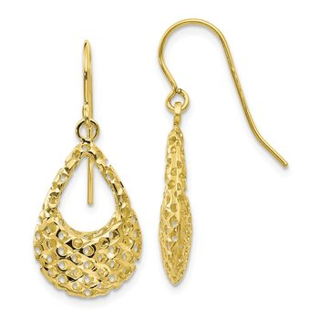 Leslie's 10K Textured D/C Shepherd Hook Dangle Earrings