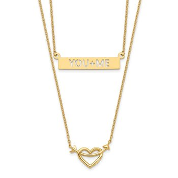 14k Two-Strand Polished Heart & You+ME Bar Necklace
